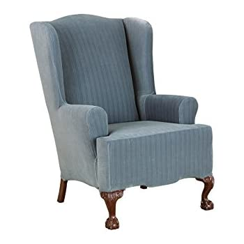Sure Fit Stretch Pinstripe   Wing Chair Slipcover   French Blue (SF35823)