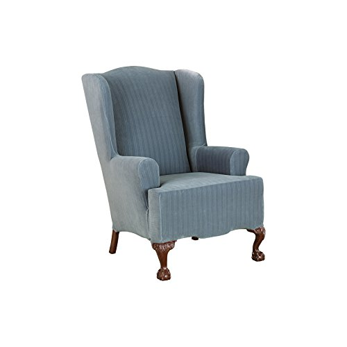 Sure Fit Stretch Pinstripe - Wing Chair Slipcover  - French Blue (SF35823) by Surefit