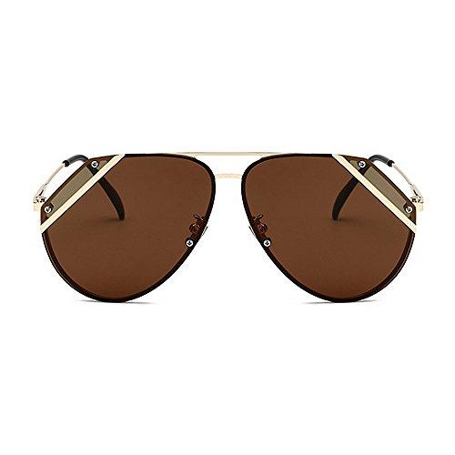Brown Vintage Classique Protection Tons Couleur Style Soleil Deux Yxsd Lunettes Brown Cadre de lentille Unisexe Réfléchissante Rétro UV400 H0wxFTq