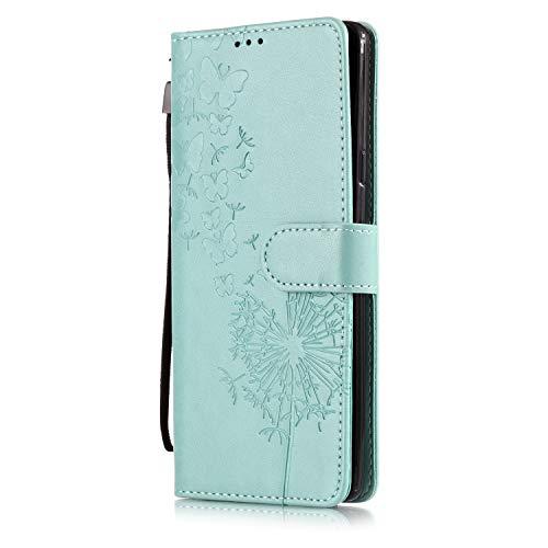 Galaxy Note 9 Leather Wallet Case, ZAOX Butterfly Dandelion