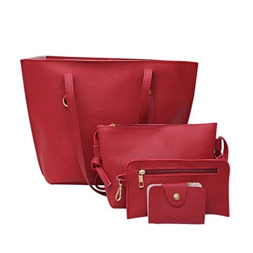 Women Red Girl For Shoulder Leather Crossbody Pattern Bag Handbag For Black Bag Women Wallet NXDA Litchi 4Pcs Women's pfdTpq