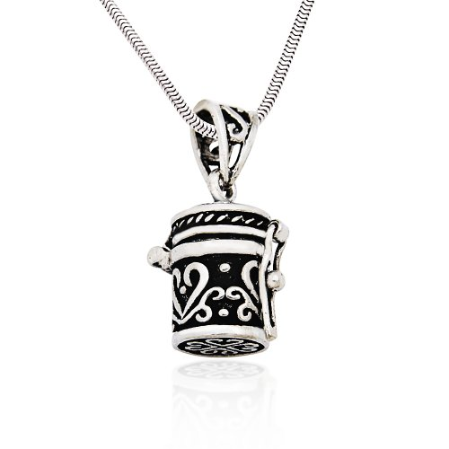 (925 Sterling Silver Antique Style Poison Prayer Box Locket Pendant on Alloy Necklace Chain, 16)