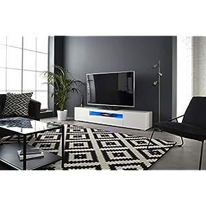 MMT DAIQ2000 Meuble TV pour TV 4K 65/70/75/80″ avec lumières LED 200 cm de Large Blanc