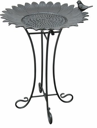 Innova Sunflower with Sitting Bird Metal Bird Bath - Antique Black Innova Hearth and Home Inc C874-27