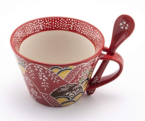 Mira Designs Attractive Ceramic Mug with Matching Spoon 12 fl oz Cup for Coffee Tea Latte Cafe Mocha Hot Cold Beverage (Red Oriental) ()