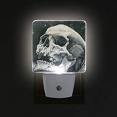 Night Light Moon Skull Led Light Lamp for Hallway, Kitchen, Bathroom, Bedroom, Stairs, DaylightWhite, Bedroom, Compact