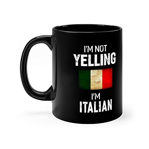 Italian 11 Oz Black Mugs Makes The Perfect Gift For Everyone. 11 Oz Ceramic ()
