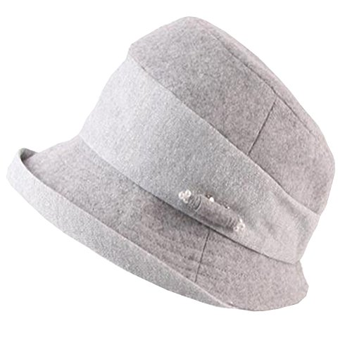 Maitose® Women's Decorative Pearl Flowers Wool Bowler Hat Gray
