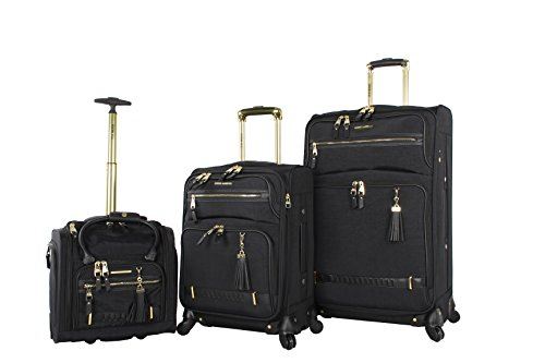 Steve Madden Luggage 3 Piece Softside Spinner Suitcase Set Collection (Peek-A-Boo Black)