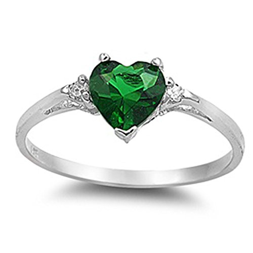 Oxford Diamond Co Heart Simulated Emerald & Clear Stone .925 Sterling Silver Ring Size 3