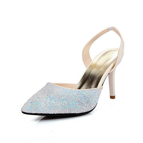 Amoonyfashion Kvinna Kick-häl Diverse Färgpådrag Mjukt Material Pekade Sandaletter Vita