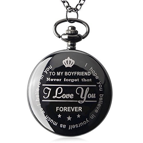 Pocket Watch To My Boyfriend Necklace Chain Valentines Day Gifts for Him Surprise Gifts for Men with Black Gift Box (Black Gift for Him)