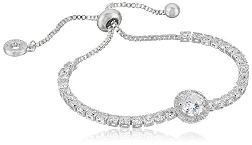 (Anne Klein Classics Silver-Tone Pave Center Stone Slider Bracelet, One Size )