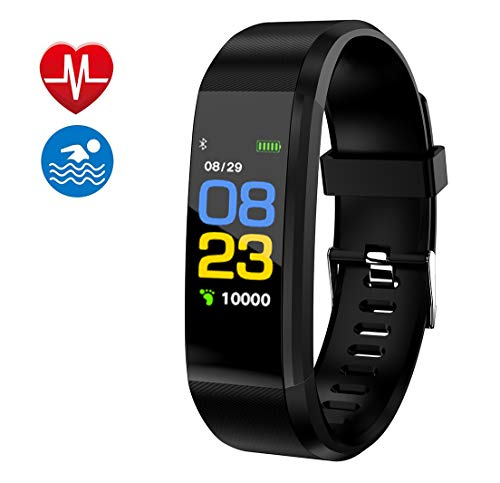 Fitness Tracker, Smart Watch, Fitness Watch,Heater Rate Monitor, Waterproof Smart Fitness Band with Step Counter, Calorie Counter, Pedometer Watch for Kids Women and Men (Black)