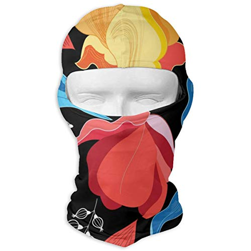 Graphics Floral Bright Vector Pattern On A Dark Background Full Face Mask Hood Sunscreen Mask Cycling Hunting Hiking Skiing Mask Dual Layer Cold for Men and Women (Vector Gas Mask)