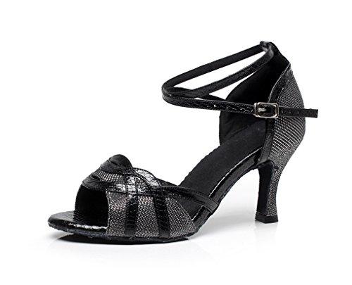 Tanzschuhe Nero Heel stylische QJ7027 Minitoo Nero Flare Latein Women'Glitzer xwTq6AY