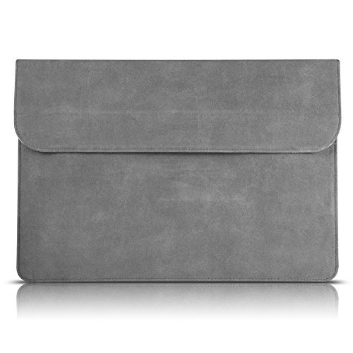 (13-13.3 Inch MacBook Air Laptop Case Sleeve with Stand,iAlegant Ultrabook Bag PU Leather Protective Notebook Carrying Case Cover Only for 2012-2017 MacBook Air and 2012-2015 MacBook Pro (Grey))