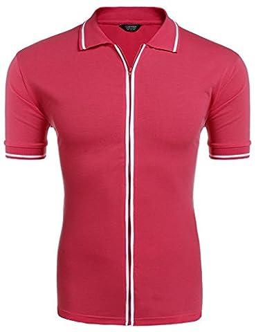 Coofandy Men's Cotton Classic Fit Short Sleeve Polo T-Shirt with Zipper Closure - Short Sleeve Zipper