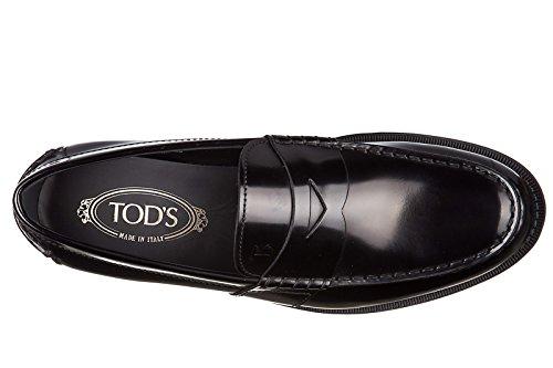 Tods Mens Läder Loafers Mockasiner College Classico Svart