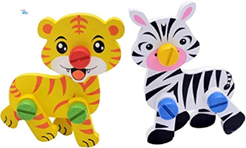 HNT Cute Animal Disassembly and Assembly Wooden Educational Puzzle Learning Toy for Kids Multi Color  Multicolor