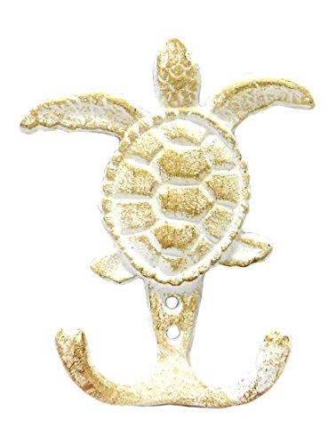 Marco Cast Iron Sea Turtle Double Wall Hook - Whitewash Finish - 3.75