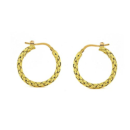 18k Yellow Gold Textured Finish Braided Basket-Weave Hoop Earrings Pair