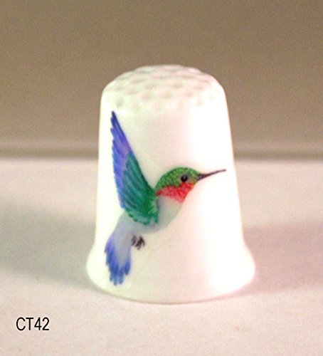 (Collectible Thimble with Ruby-Throated Hummingbird)