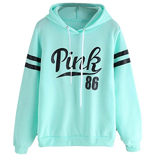 FACE N FACE Womens Chic Drawstring Long Sleeve Hooded Sweatshirt Large Light Green
