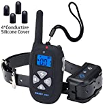 Dog Training Collar Waterproof Rechargeable 1450ft Remote, Electric Shock Collar Bark Collars for Small Medium Large Dogs-Beep, Vibra, Shock, Led Light (Upgraded-Low Battery Prompt/Shock Protection)