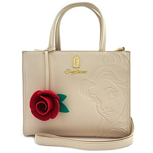 Loungefly x Beauty And The Beast Belle Embossed Charm Bag White