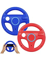 Steering Wheel for Wii Controller, PowerLead 2 pcs Racing Wheel Compatible with Mario Kart, Game Controller Wheel for Nintendo Wii Remote Game(Red+Blue)