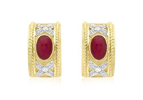 Jewellery World Bague en or jaune 9carats Rubis et Diamant Boucles d'oreilles Demi bande