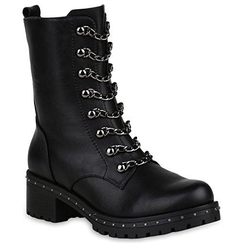 Stiefelparadies Damen Outdoor Worker Boots Prints Warm Gefütterte Stiefeletten Flandell Schwarz Nieten Camiri