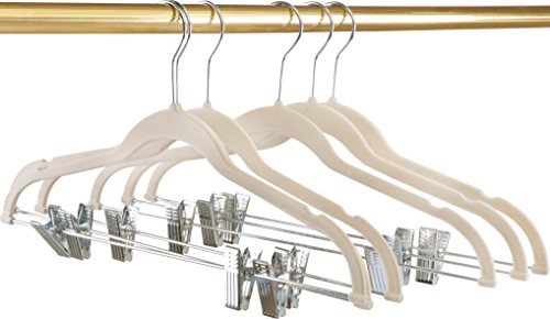 Utopia Home Premium Velvet Hangers - Pack of 12 - Heavy Duty - Non Slip - Velvet Suit Hangers with Clips For Pants or Skirt Hanger - Ivory