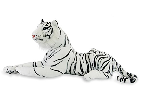 Ostrich Racer Costume (Tiger Realistic Big Cat Soft Stuffed Toy Cuddly Plush Pillow Companion for Kids and Adults BPA-Free 72 x 12 x 18 | 6 pounds | White| Large)
