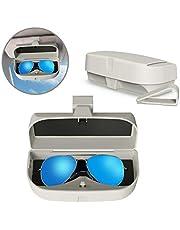 MoKo Caja de Gafas para Coche Universal, Estuche para Gafas de Sol con Clip y Bolsillo de Inserción de Tarjetas para Visera de Auto Soporte de Gafas de Automóvil