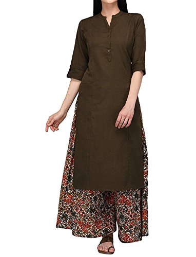 (Ladyline Women's Pure Cotton Plain Tunic Top 3/4 Sleeves Roll-up Button Neck with Pocket Long Kurti Kurta)