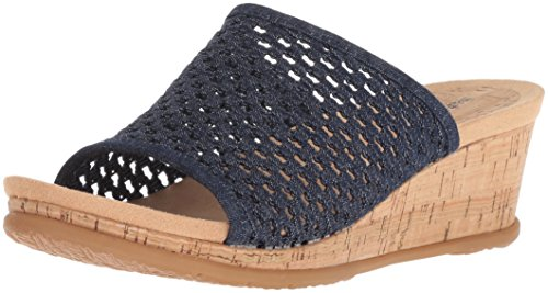 BareTraps Women's Flossey Slide Sandal, Dark Denim, 7.5 Medium (Athletic Denim Sandals)