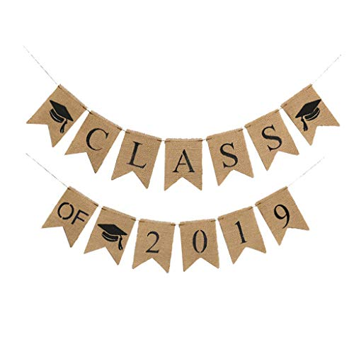 UMFunGraduation Bunting Banner CLASS OF 2019 Graduation Party Decor Banner Pull Flag]()