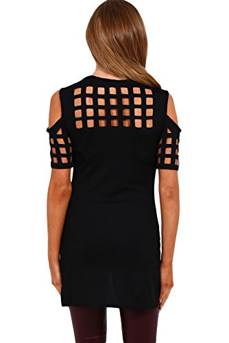 Nuevas señoras negro Cold Shoulder jaula efecto Entramado Cut Top camiseta Club wear Tops Casual Wear ropa tamaño M UK 10 –�?2 EU 38 –�?0
