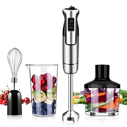 Immersion Hand Blender, Powerful 4-in-1 Handheld Stick Blender Sets with 500ml Food Chopper, 600ml Beaker, Egg Whisk for Puree Baby Food, Smoothies, Sauces and Soups