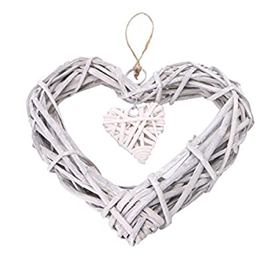 Heart Wicker Wreath Home Wall Hanging Wedding Birthday Party Ornament Decor