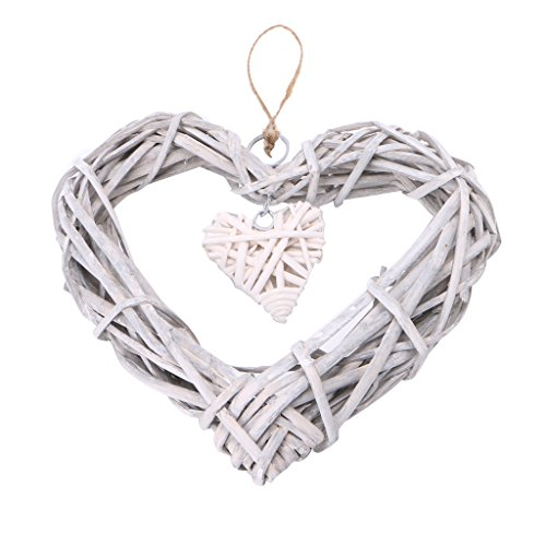 cici store Heart Wicker Wreath Home Wall Hanging