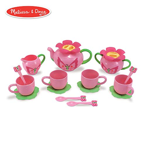 Melissa & Doug Bella Butterfly Pretend Play Tea Set (Pretend Play, Food-Safe Material, BPA-Free, Durable Construction, 15.5