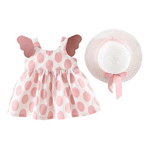 Dotted Sleeveless Dress - SIN vimklo Girl Skirt Children's Sleeveless Print Dotted Wing Dress+Straw Hat Pink