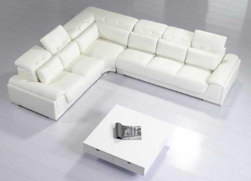 (Modern Furniture- VIG- T93C - Modern White Leather Sectional Sofa)