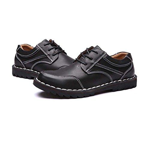 ZXCV Zapatos al aire libre Hombres retro zapatos de cuero grandes hombres bajos para ayudar a los zapatos informales de negocios Negro