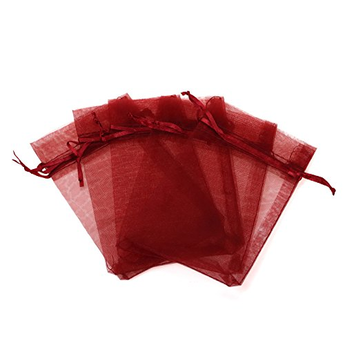 KUPOO Pack of 50PCS 8x12 Inch Organza Drawstring Gift Bag Pouch Wrap for Party/Game/Wedding (Wine (Red Gift Pack)