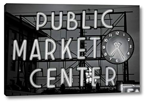 "BW Public Market Sign II by Bob Stefko - 19"" x 28"" Gallery Wrapped Giclee Canvas Print - Ready to Hang"