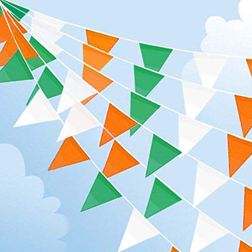 ZSNICE 123 Feet/37.5 Meters Irish St. Patrick's Day Party Decorations Triangular Bunting Super Long Green White and Orange Pennant Banners Flags Polyester Fabric, Parade Bar Decor -